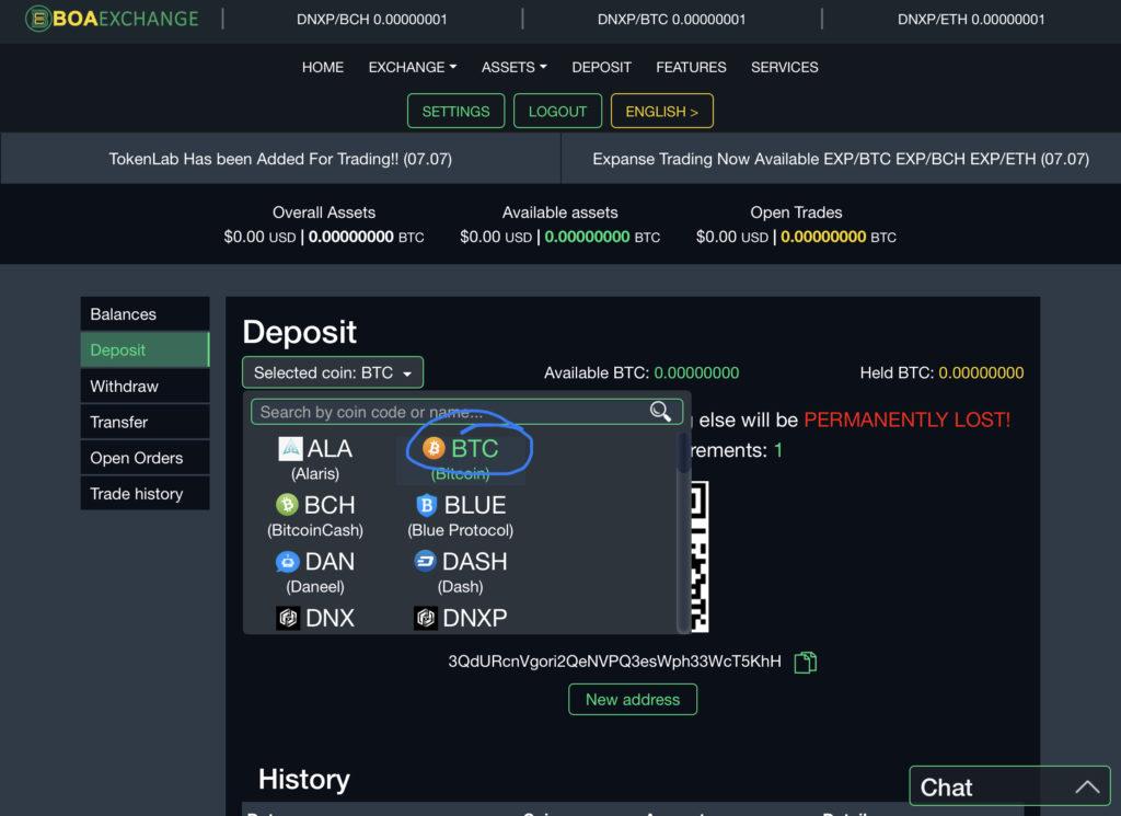 Deposit Bitcoin